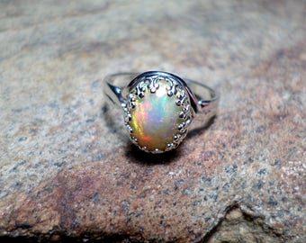 Ethiopian Opal Ring, Welo Opal Ring, Fine Jewelry, Sterling Silver Ring, October Birthstone,  Opal Ring
