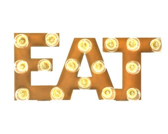 Eat Marquee Rusted Metal Vintage Inspired Lighted Sign