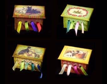 Boîte de ruban miniature OOAK - Animal Thèmes - échelle 1/12
