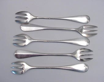 5 vintage oyster forks, silver plated, marked Wiskemann (Belgium)