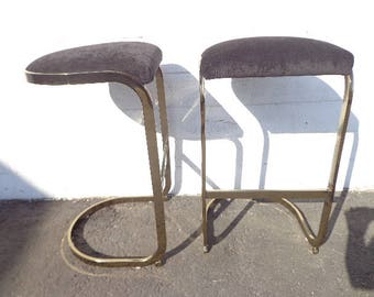 Set of 2 Bar Stools Milo Baughman Mid Century Modern Seating Dining Chairs Gold Brass Counter Cantilevered Vintage Hollywood Regency Boho