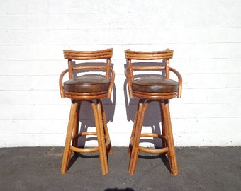 Bar Stools Set of Paul Frankl Rattan Swivel Bohemian Boho Chic Pair Dining Chair Vintage Seating Mid Century Modern Vintage Furniture Bamboo