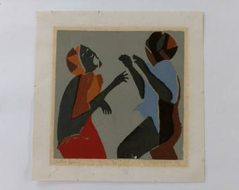 Vintage signed and numbered lithograph of two women dancing
