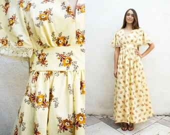 VINTAGE 1970s Golden Florals Cap Sleeve Maxi Dress |