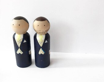 Groom and Groom wedding cake topper couple- hand painted personalised wooden peg dolls for Mr and Mr