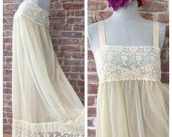 M / 1960s Christian Dior Romantic Nightgown / Honeymoon Nightgown / Wedding Negligee / Wedding Lingerie