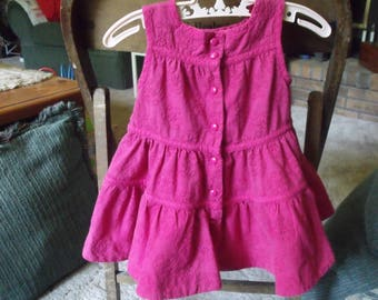 Baby Gap hot pink ruffled dressand under pants 3-6mos.  embroidered w/ slip lined.