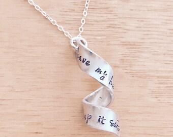 Secret Message Necklace, Spiral necklace, Best Friend Gift, Secret Message Gift, BFF, long distance relationship necklace