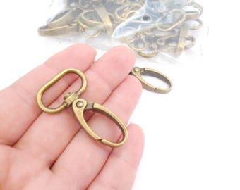 "Bronze Swivel Hook Keychain_PA659700/894BNOC_Keychain Supplies_of 43 MM / 1,69 ""__pack 5 pcs"