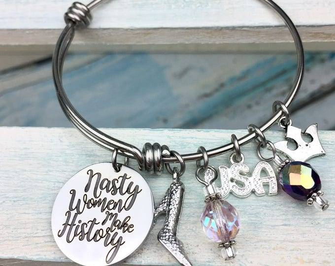 Nasty Women Make History Expandable Bangle Bracelet