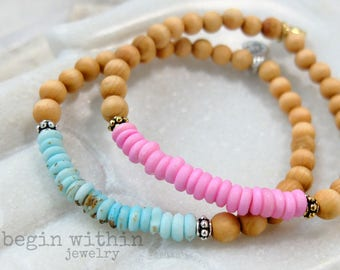 Sandalwood Bracelet | Sandalwood Stacking Bracelet, Layering Bracelet | Lotus Bracelet