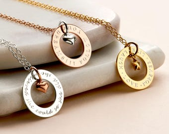 Personalised Circle Charm Necklace - Circle Link Necklace - Customised Necklace - Gift For Her