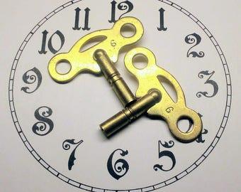 Two Vintage / Antique Brass Clock Keys - Size 6 - Clock Parts - Brass Clock Winding Key - Steampunk Key