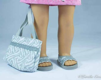 American Girl or 18 Inch Doll SHOES Sandals Ballet Flats in Textured Vinyl in White and Gray with Trim and Matching PURSE Option