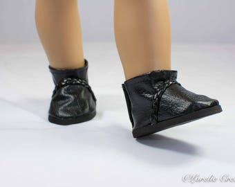 """Doll Ankle BOOTS in Short Length in BLACK Faux LEATHER with Braided Faux Leather Trim for American Girl or 18 """" Doll"""