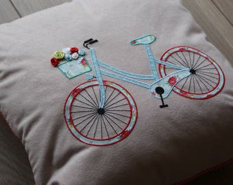 Bike Pillow Cover. Bike Pilow Case With A Flowers. Baby Girl Pilow. Room Decor.