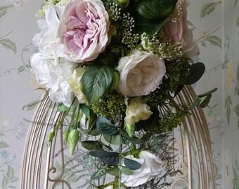 Brides Rose & Hydrangea Teardrop Silk Wedding Bouquet Flowers