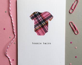 New Baby Scottish Card - Scottish Tartan Card - Bonnie Bairn - Made In Scotland - Tartan Baby Card