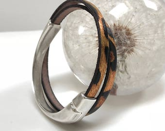 Leopard Double Wrap Half Cuff Bracelet with Magnetic Clasp, Leather Bangle, Unisex Leather Bracelet,Women's Leather Bracelet, Tan and Silver