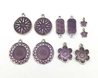 10 charms purple enamel and silver tone ,12mm to 30mm #CH 407