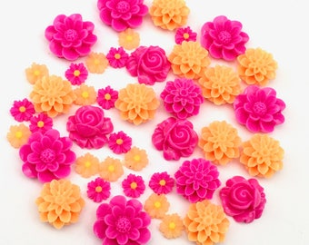 30 resin cabochon flowers ,8mm to 18mm #FL 104
