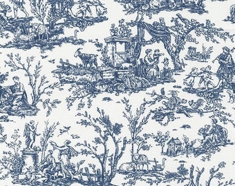 Toile Fabric by the Yard, Quilt, Floral, Cotton, Toile, Nursery, True, Blue, White, Delft, Small Print, Scenic, Classic, Novelty, Decor