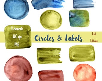 Fall Clipart Circles, Watercolor,  Circles, Labels, Scrapbook Labels, Digital Scrapbook, Logo Backgrounds, Watercolor Circles