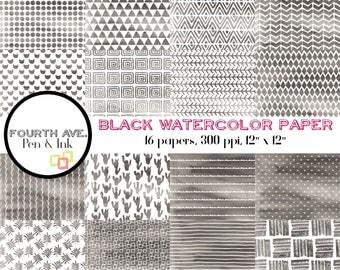 Watercolor Digital Paper Pack, Watercolor, Black, Black and White, Patterns, Scrapbook Paper, Paper Craft, Digital Scrapbook, Scrapbooking
