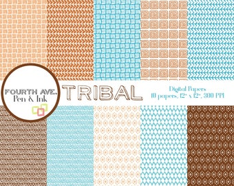 Tribal Digital Paper, Aztec Digital Paper, Blue and Brown Digital Paper, Digital Paper Pack, Digital Scrapbook, Scrapbook, Paper Craft