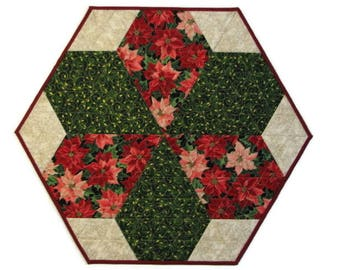 Christmas Quilted Table Topper, Elegant Christmas Table Mat, Hexagon Holiday Table Centerpiece, Poinsettia and Holly, Quiltsy Handmade