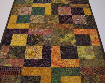 """Modern Autumn Quilted Table Runner, Scrappy Batik Quilted Table Mat, Brown Rust Gold  Patchwork Table Runner, 37""""x15"""", Quiltsy Handmade"""