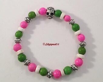 CIJ Pink Green Bead Bracelet, Gift for Her, Natural Stone, Day of Dead, Sugar Skull, Dia de los Muertos, Boho, Party, Mardi Gras, Cinco de M