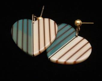Striped Heart Earrings Posts Drops