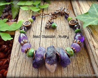 Raw Amethyst Bracelet; Boho Bracelet; Purple Bracelet; Hippie Bracelet; Bohemian Bracelet; Gemstone Bead Bracelet; Australian Seller