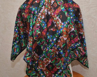 Vintage Richard Allan  silk multicolored abstract print square scarf