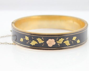 Vintage Enameled Hinged Bracelet Rose and Yellow Gold Floral Inlay