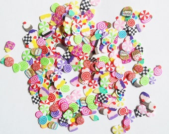Mini Candy Cake Cupcake Slice Fimo Confetti Sweets Slime Nail Art Crafting Tiny shapes Rainbow Multicolor small mini slices