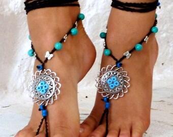 SALES-20% Barefoot Sandals, Barefoot Beach Jewelry, tibetian silver mandala, bridesmaid barefoot sandals, Toe Thong