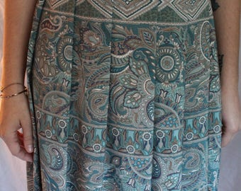 Paisley Maxi Skirt- Blue pattern skirt- long skirt