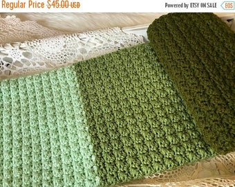 Sale Crochet Baby Blanket - Knit Baby Blanket - Stroller Travel Blanket - Toddler Blanket - Chunky Baby Crib Blanket Ombre Shades of Green