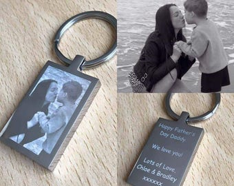Personalised Engraved Photo Rectangle Keyring Perfect Keepsake, Mothers/Fathers Day, Birthday, Christmas, Thank You