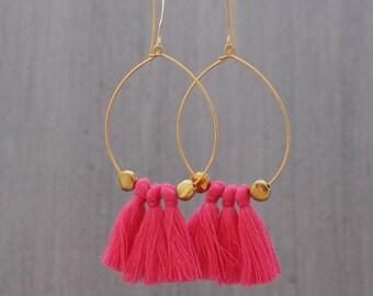 Tassel Hoop Earrings - Pink Tassel Earrings - Tassle Earrings - Fringe Earrings, White Tassel Earrings - Gold Hoop Earrings, Tassel Jewelry