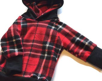 Plaid Grow with me hoodie 3 to 12 months - Ready to Ship, grow with me hoodie