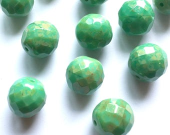 Sea green Czech glass beads - 6 x 12mm faceted Czech round beads - UK beads - Green and gold beads - Jewellery making - UK seller - Etsy UK