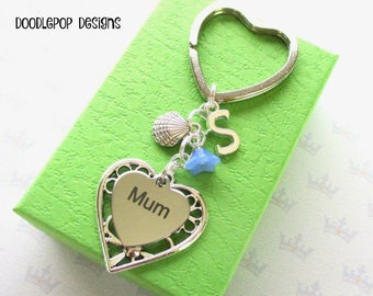Personalised mum keyring - Birthday gift for mum - Mother's Day gift - Shell keyring - Gift for mum - Mum keychain - Clam shell keychain UK