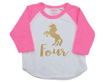4 Year Old Birthday Shirt Unicorn Shirt for Fourth Birthday Party 288
