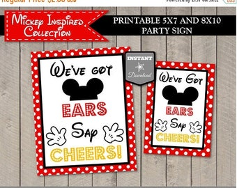 SALE INSTANT DOWNLOAD Printable Mouse We've Got Ears, Say Cheers 5x7 or 8x10 Party Sign / Mouse Classic Collection / Item #1521