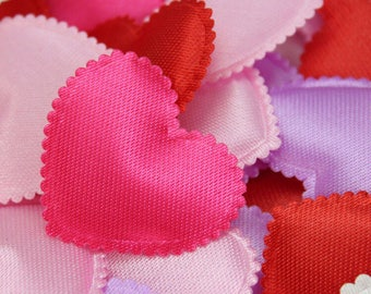 100 Pieces of Dark Pink Fabric Padded Heart Appliques.  25mm x 30mm Throwing Petals for Weddings, Scrapbooking, Cardmaking & Embellishments