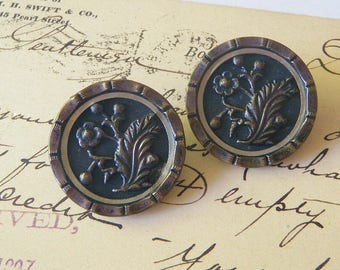 Pair of Large Beautiful Victorian Floral Buttons