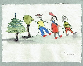 Three friends going for a walk, Painting